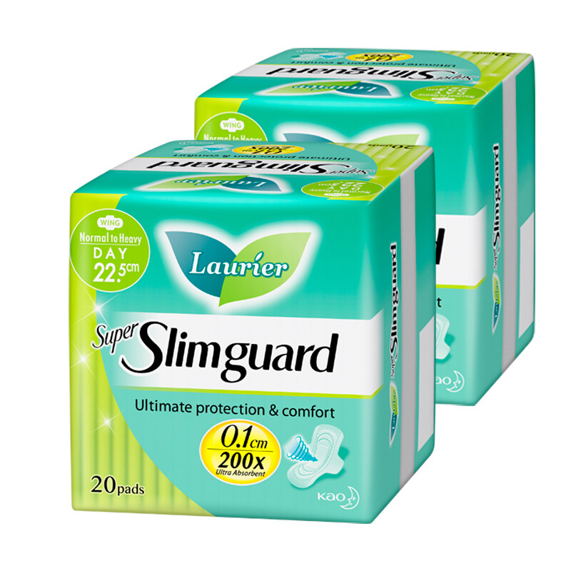 Laurier Super Slim Guard Day Sanitary Pad Twin Pack - (22.5cm/ 20s)
