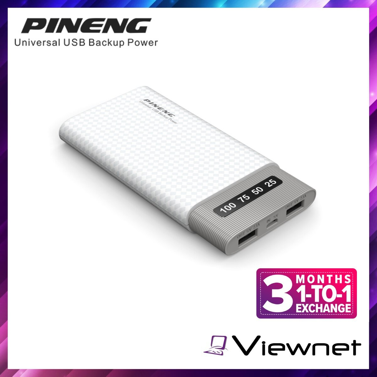 Pineng 10000mAh Lithium Polymer Power Bank (PN-981), 2-Out 2.1A, Slim and Lightweight, Black / White