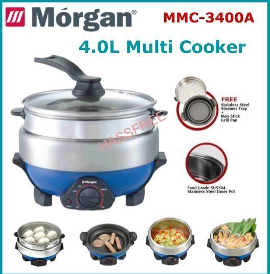 Morgan 4.0L Multi Cooker with Steamer and Grill Pan MMC-3400A Periuk Pelbagai Fungsi Pengukus
