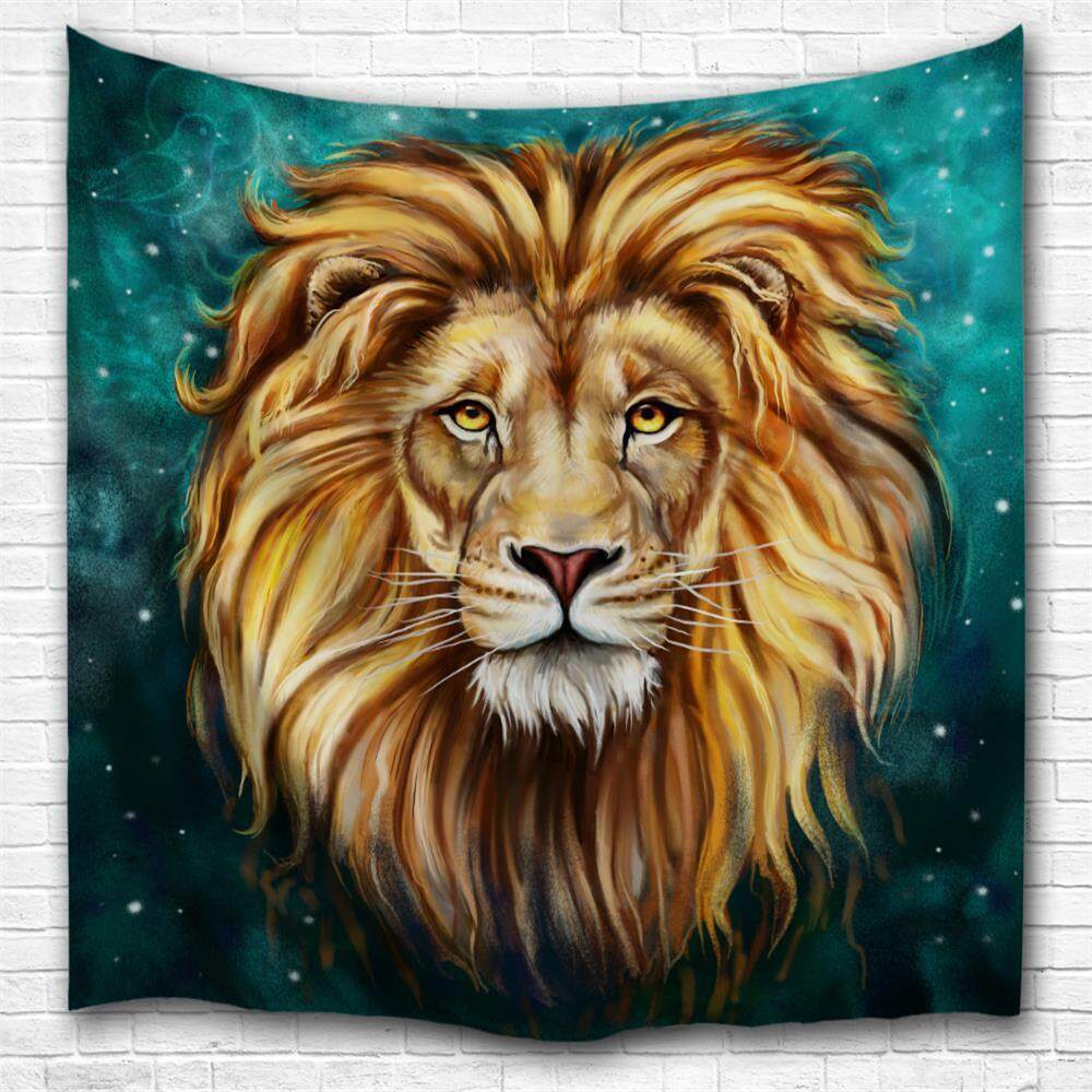 Green Lion King 3D Digital Printing Home Wall Hanging Nature Art Fabric Tapestry For Bedroom Living Room Decorations (Size:W153CMXL102CM)