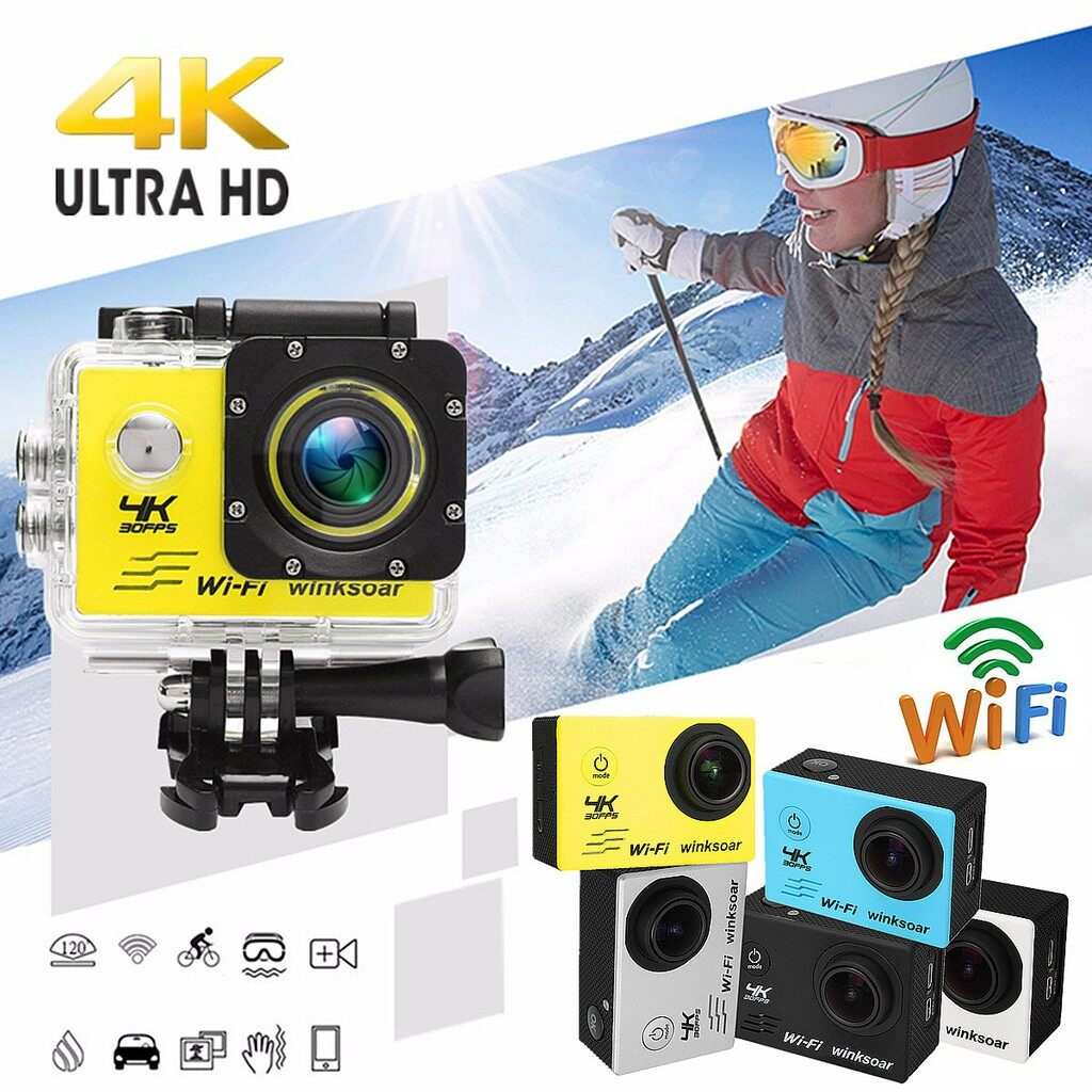 Sports & Action Cameras - SJ8000 Sports Action DV Camera Recorder Waterproof 4K HD 120 WiFi 2.0'' LCD - GREY / BLUE / YELLOW / WHITE / BLACK