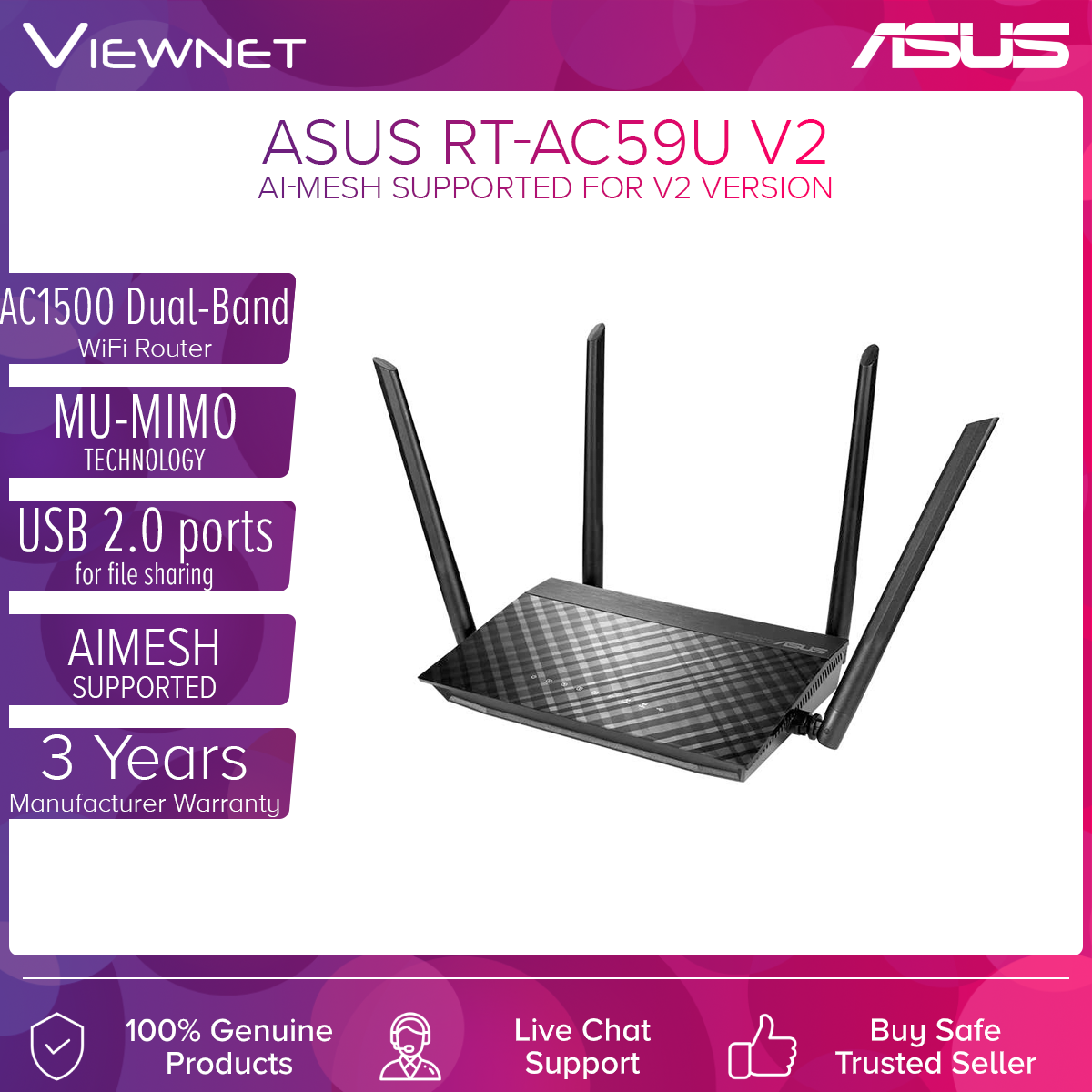 [V2 AI MESH SUPPORT] ASUS RT-AC59U V2 AC1500 Dual Band 2.4GHz + 5GHz Wireless Router