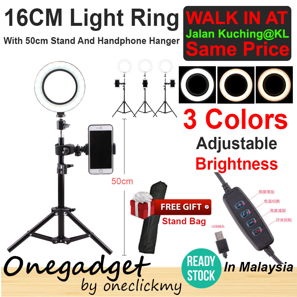 [?READY STOCK IN MALAYSIA]16/26cm Photography Selfie Lighting Dimmable LED Ring Light Lamp With 50cm/160cm Tripod Stand50cm Tripod Stand With 26cm Ring