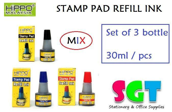 HIPPO Stamp pad Refill ink 30ml ( set of 3 ) Mix Colour