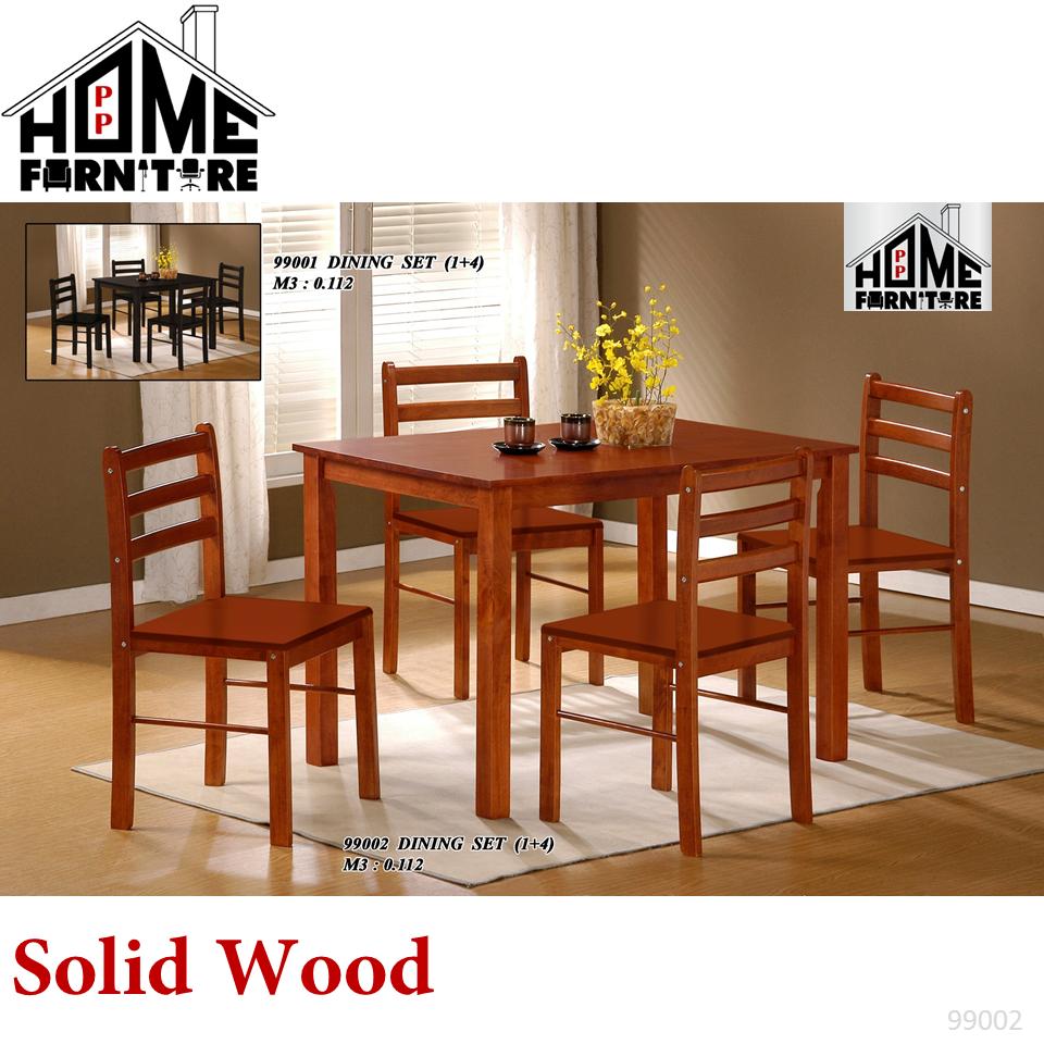 PP HOME Dining set modern (1 Dining Solid Wood Table + 4 Solid Wood Dining Chair)/Wooden Dining table set for 4/ Eating table/Dinner table set/Dinning table/ Kitchen table/  Set Meja makan 4 kerusi/ 实木餐桌/ 餐桌椅99008