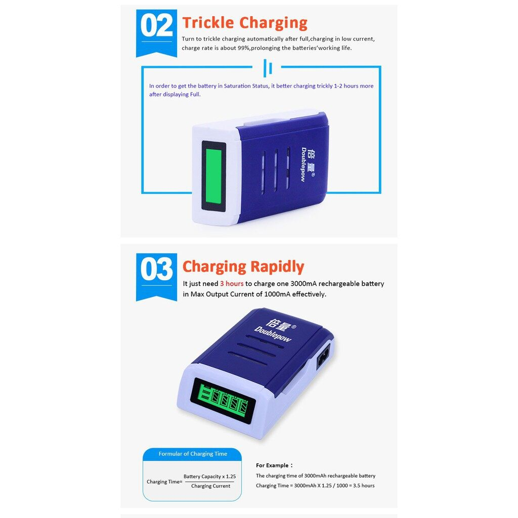 Chargers - Doublepow K209 4 Slot Quick Charge Rechageable Battery Smart Charger - UK / AU