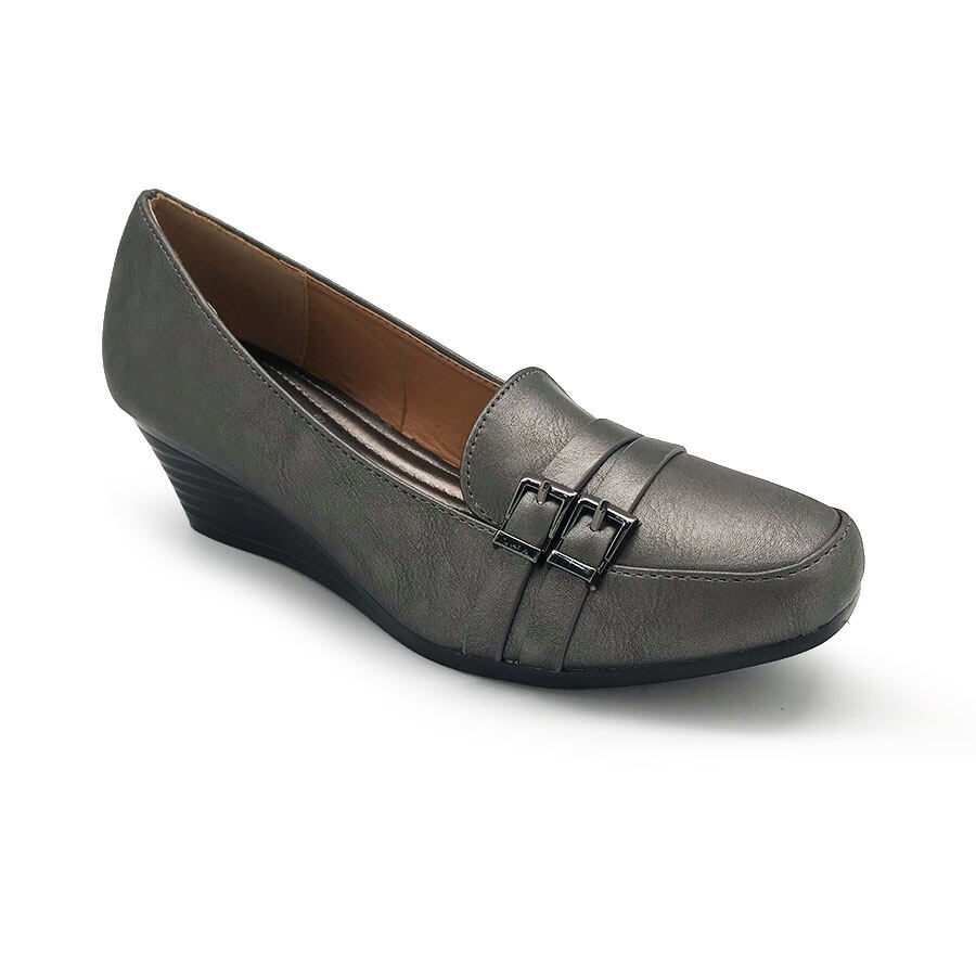 XES Ladies BSLCES10 Formal Closed-Toe Heels Wedges (Navy Blue Pewter)