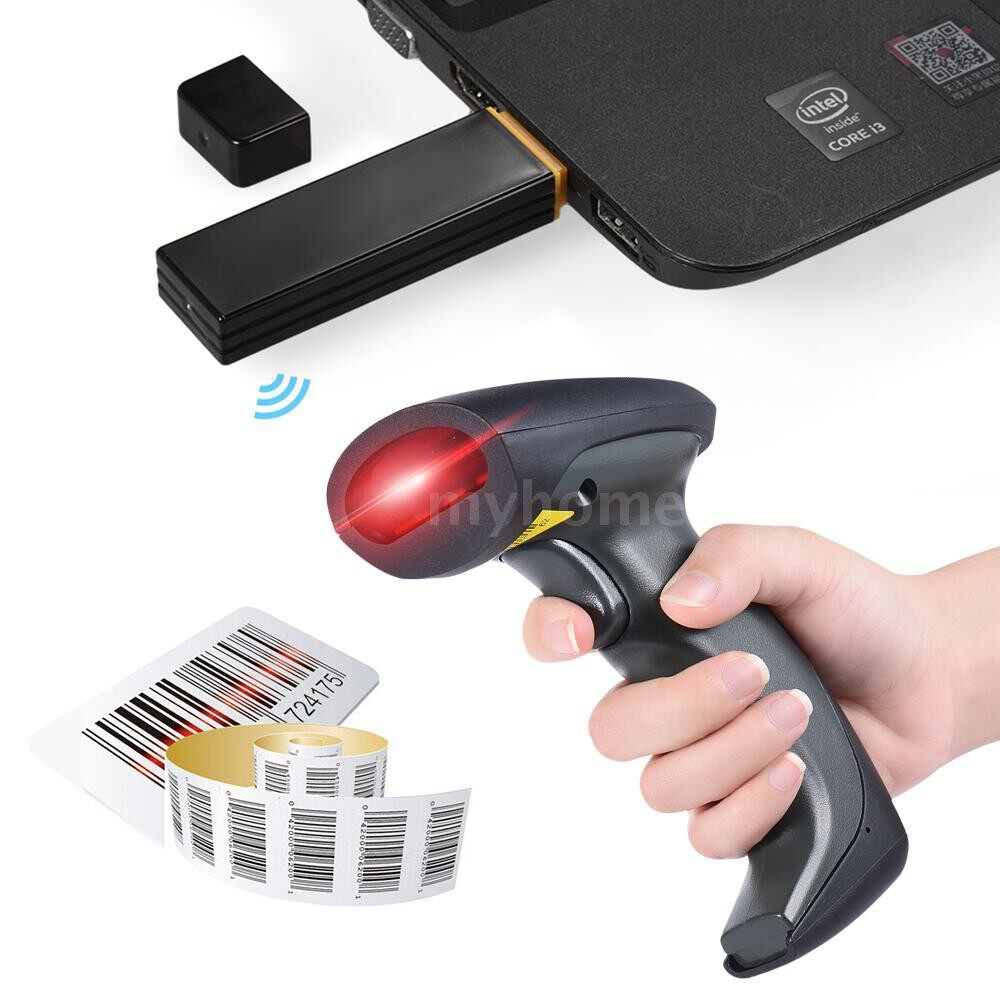 Printers & Projectors - Handheld 433MHZ WIRELESS CCD Barcode Scanner Bar Code Reader with Receiver USB Cable for - #