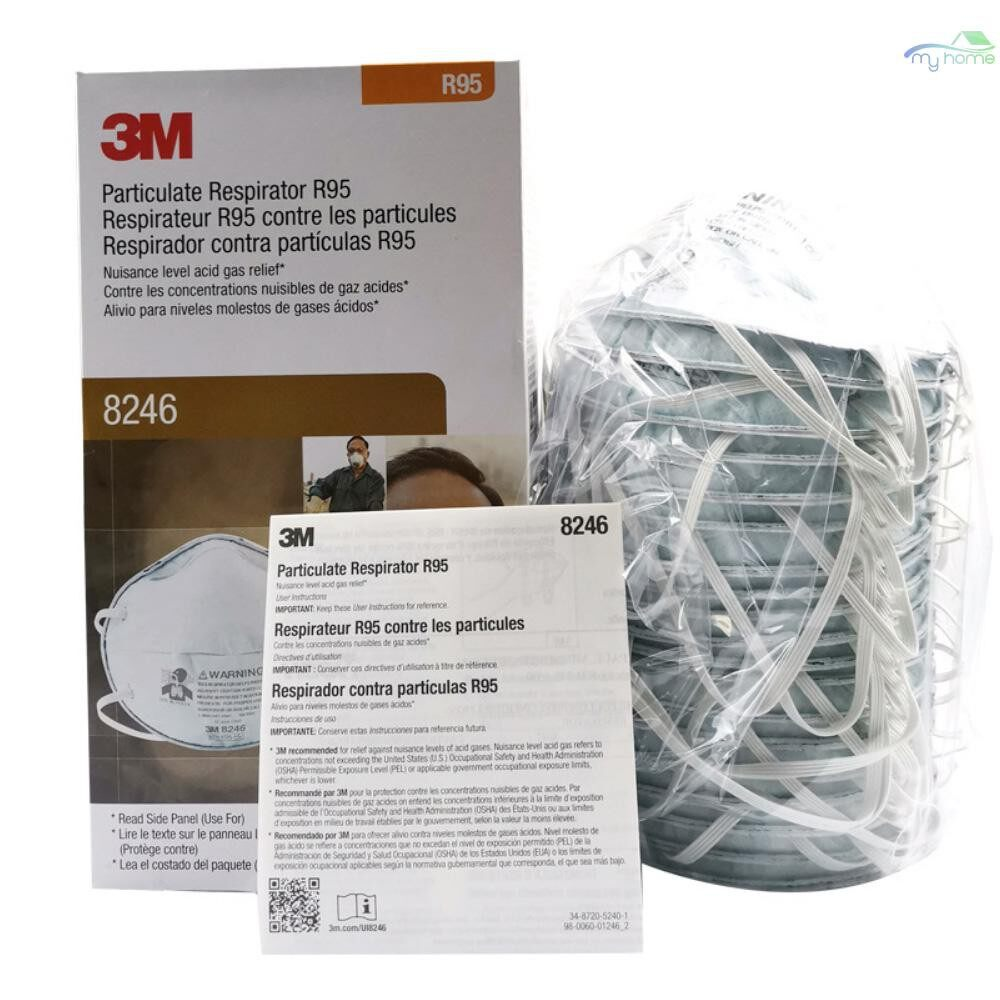 Protective Clothing & Equipment - 3M 8246 Dust Mask Mouth Mask for Pollution Fog Haze Woodworking Mowing Running Half Face Mask for - WHITE