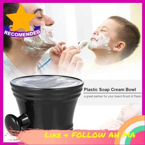 Best Selling Plastic Soap Cream Bowl Shaving Mug Bowl Cup with Handle Shaving Tool (White)