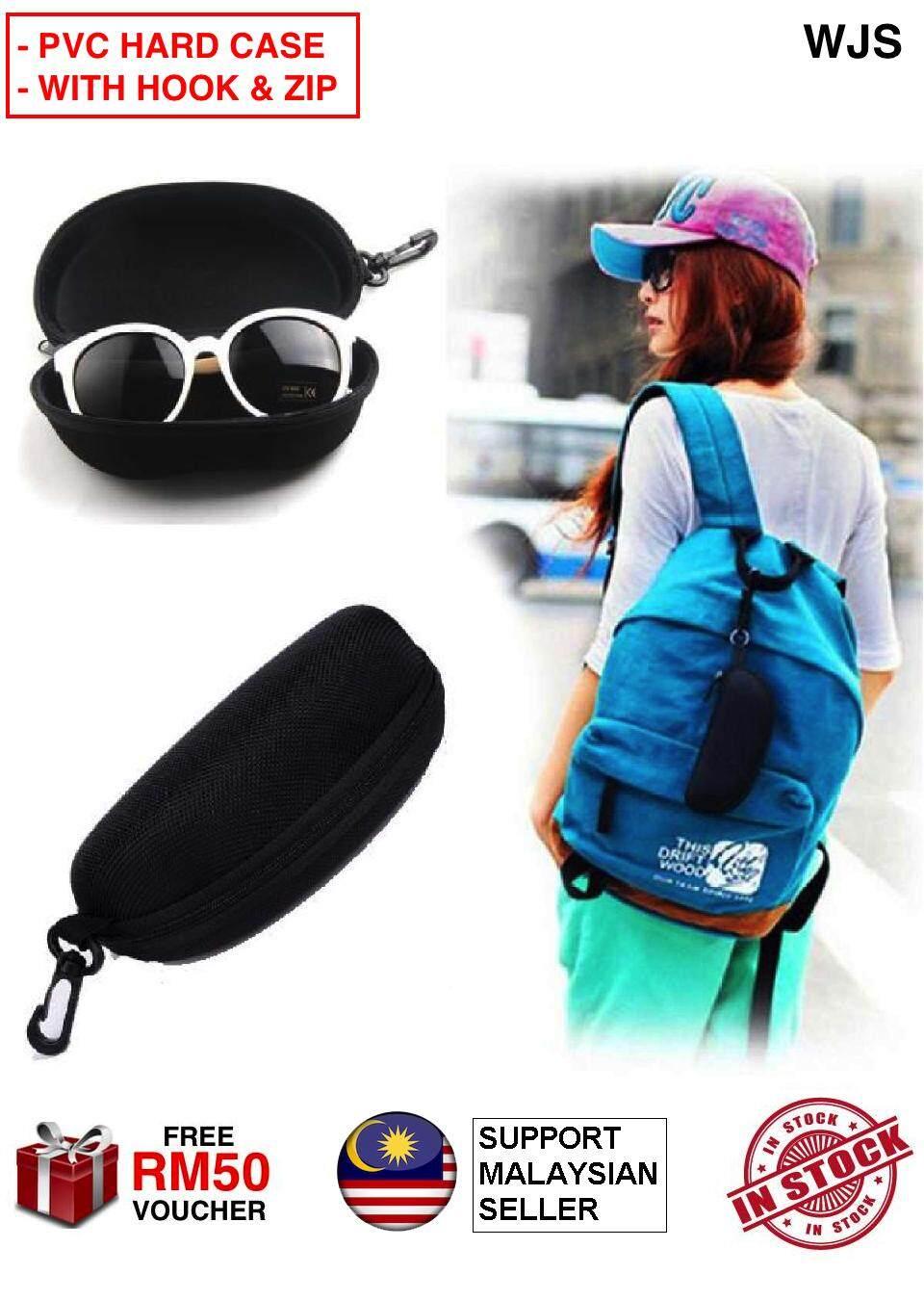 (HARD PVC - WITH HOOK & ZIP) WJS Hard PVC Zipper Sunglass Casing Spectacle Case Eyewear Case Sunglasses Hard Case Box Outdoor Protector Black Holder Storage BLACK [FREE RM50 VOUCHER]