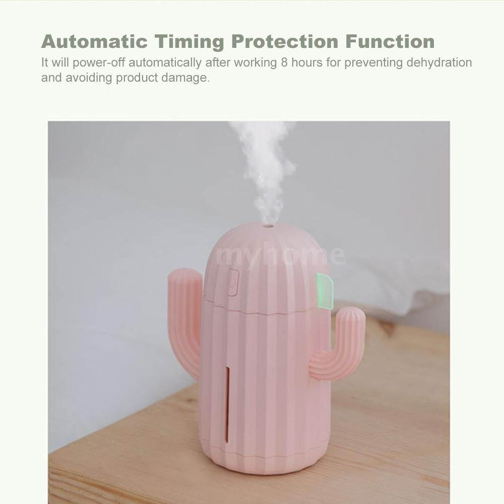 Humidifiers & Air Purifiers - 340ML MINI Humidifier Cactus Shape USB ULTRAsonic Air Humidifier Mist Maker for Home Office - GREEN-TYPE 2 / GREEN-TYPE 1 / PINK-TYPE 2 / PINK-TYPE 1 / BLUE-TYPE 2 / BLUE-TYPE 1