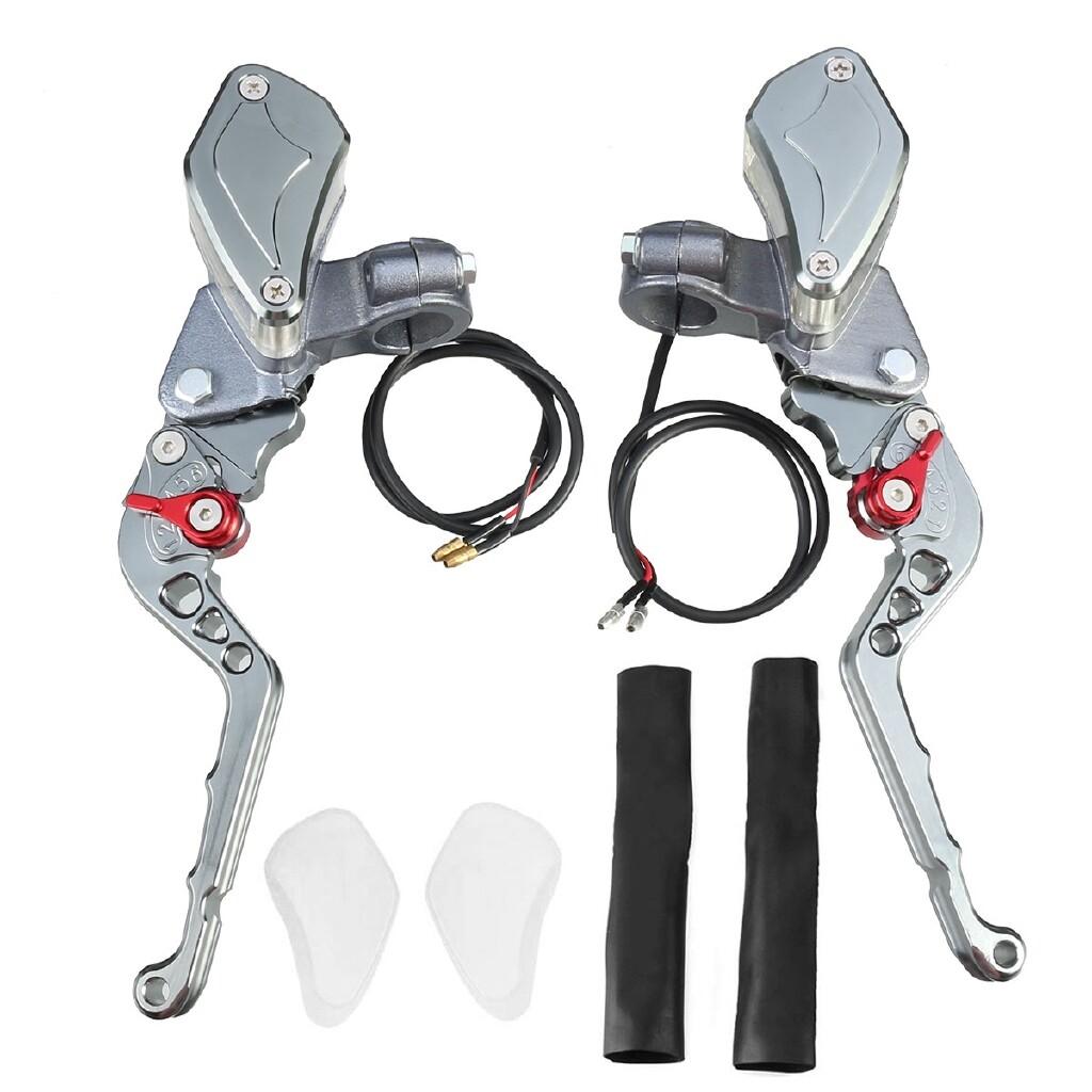 Moto Accessories - A Pair 7/8 (22mm) Brake Master Cylinder Levers Motorcycle Brake Clutch Master Cylinder Reservoir - RED / TITANIUM GRAY / BLACK / SILVER / GOLD / BLUE / ORANGE