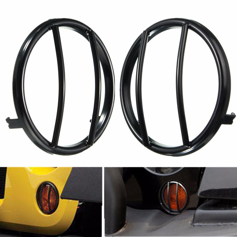 Automotive Tools & Equipment - 07-15 Black Turn Signal Grille Mounted Light Cover For Jeep Wrangler - Car Replacement Parts