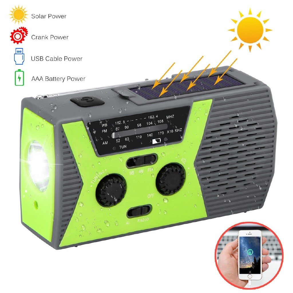 Radios - Solar Power Hand Crank Emergency AM/FM/WB NOAA Weather Radio LED Flashlight - RED- HY-018WB / GREEN- HY-018WB