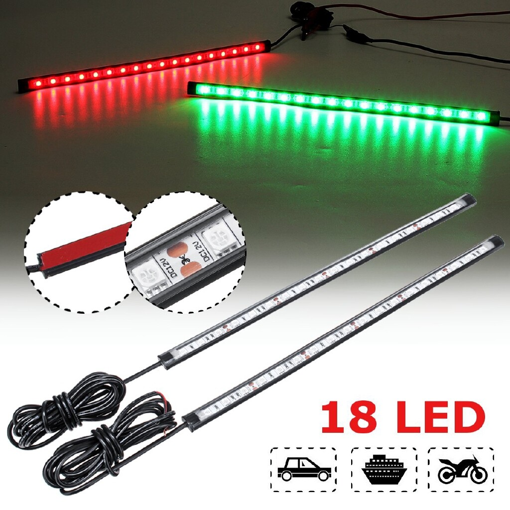 Car Lights - 30cm Pair LED Atmosphere Lights Strips Flashing Decoration Signal Boats Cars - Replacement Parts