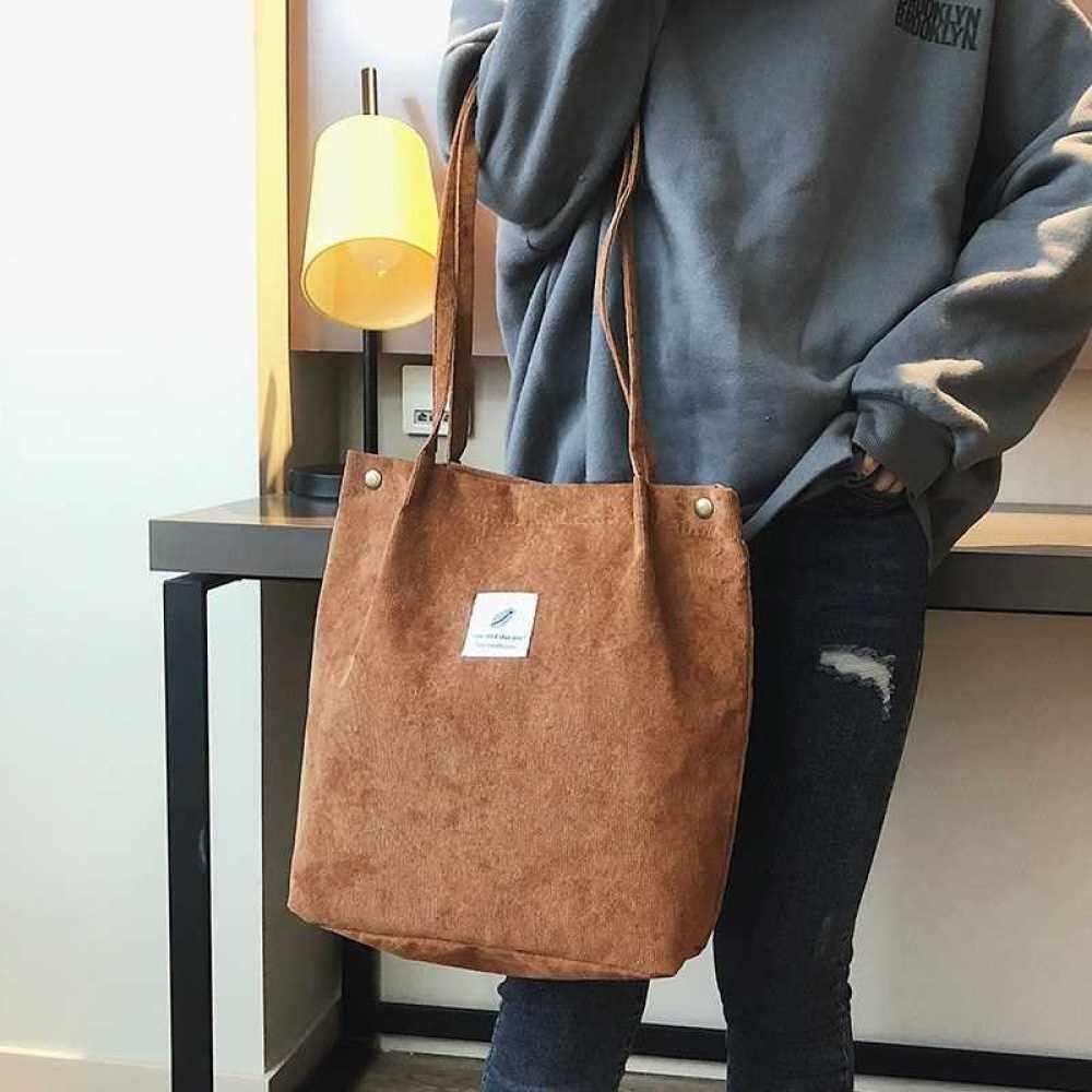 Women Shoulder Bags Corduroy Totes Vintage Holiday Beach Reusable Shopping Bags Students Travel Casual Handbag (Brown)