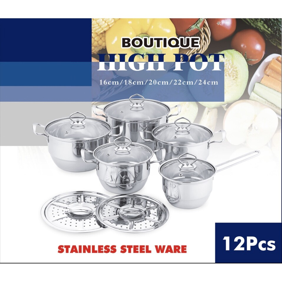 12pcs High Quality Cookware Stainless Steel Soup Pot With Glass Lid