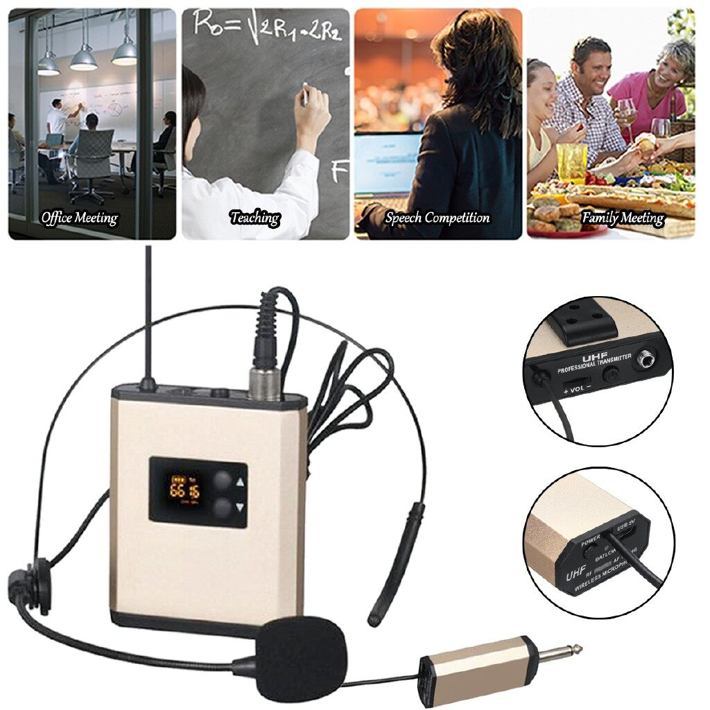Microphones - UHF WIRELESS Head SET PORTABLE Recharage Microphone System with Receiver - Audio