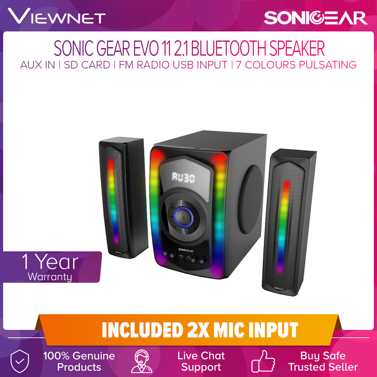 Sonic Gear Evo 11 Speaker 2.1 Channel System Satellite Subwoofer 7 Colour Pulsating LED 80W Power with Bluetooth Mic Input USB SD Card Aux In Support