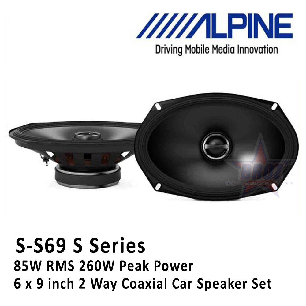 Alpine S-S69 S Series 6 x 9 inch 2 Way Coaxial Car Speaker Set 85W RMS 260W Peak Power