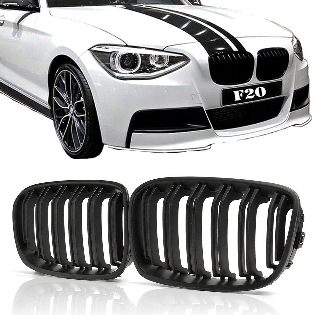 Tyres & Wheels - Pair Matt Black Front Bumper Grille Double Slat for BMW F20 1 Series 2010-2014 - Car Replacement Parts