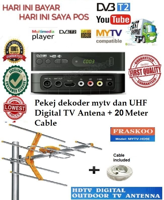Fraskoo K2 Pro Megogo with 8 Element UHF MYTV HD9E Antenna with 20m Cable