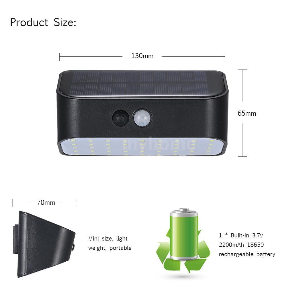 Outdoor Lighting - 3.7V 9W 45 LED Solar Powered Energy Wall Lamp Adopted PIR Motion Sensor Infrared Human Induction - BLACK