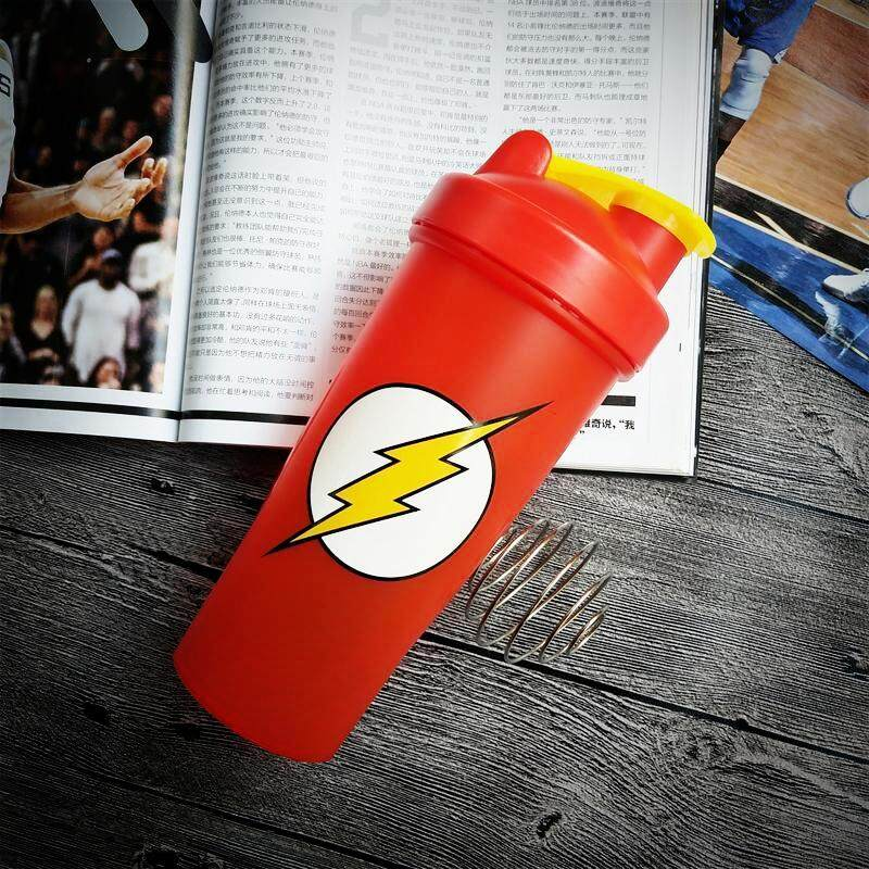 Protein Shaker Bottle with Stainless Steel Ball Flash Marvel Superheroes