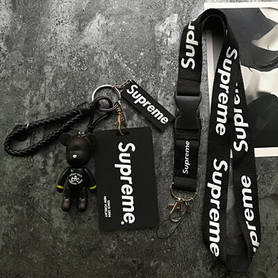 SUPREME LANYARD ID CARD HOLDER BUS CARD SCHOOL CARD WITH MINI FIGURE AND ACCESSORIES