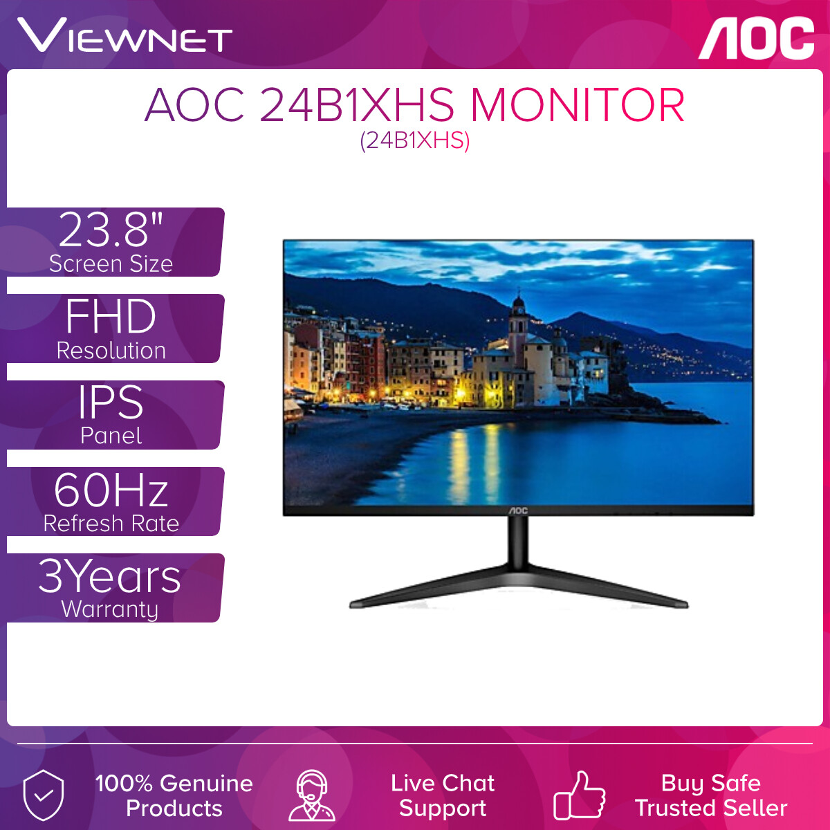 AOC 24B1XHS 23.8 IPS FRAMELESS FHD LED MONITOR (7MS GTG/60HZ/VGA + HDMI)