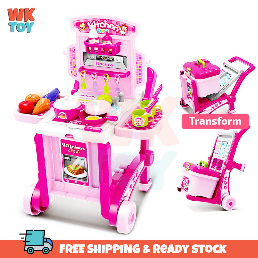 WKTOY 3 In 1 Kitchen Little Chef set Pretend Play Set with Trolley Suitcase