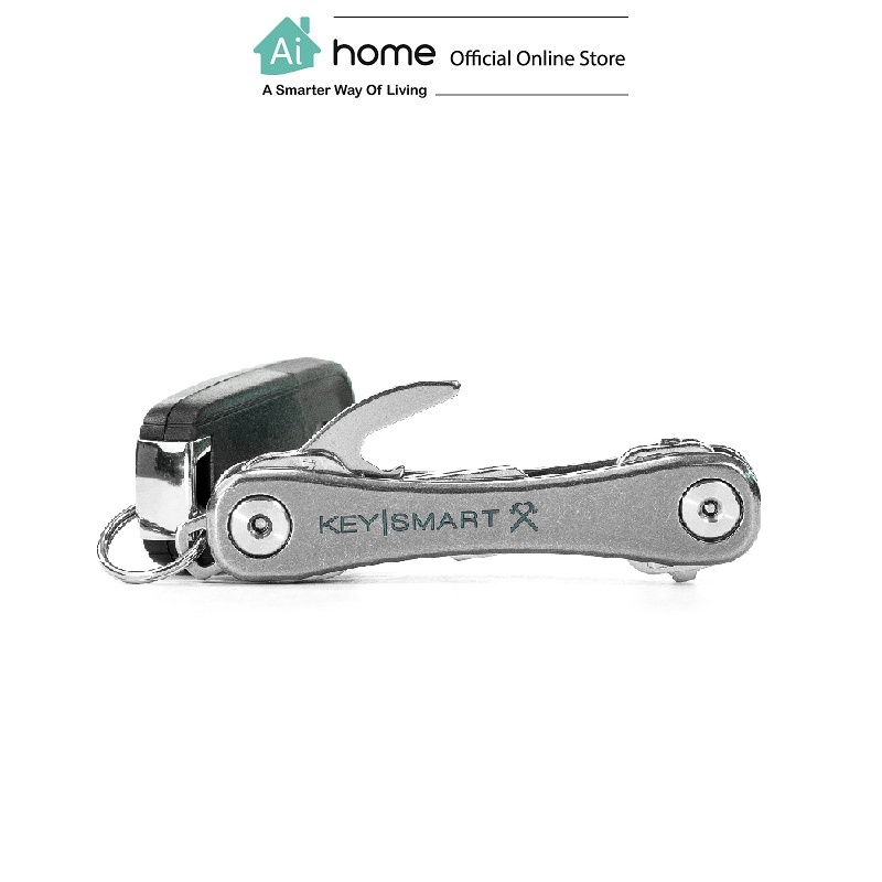 KEYSMART Rugged Compact Key Holder W/Belt Clip & Bottle Opener,Aluminum (Up To 14 Keys) [ Ai Home ] KRT