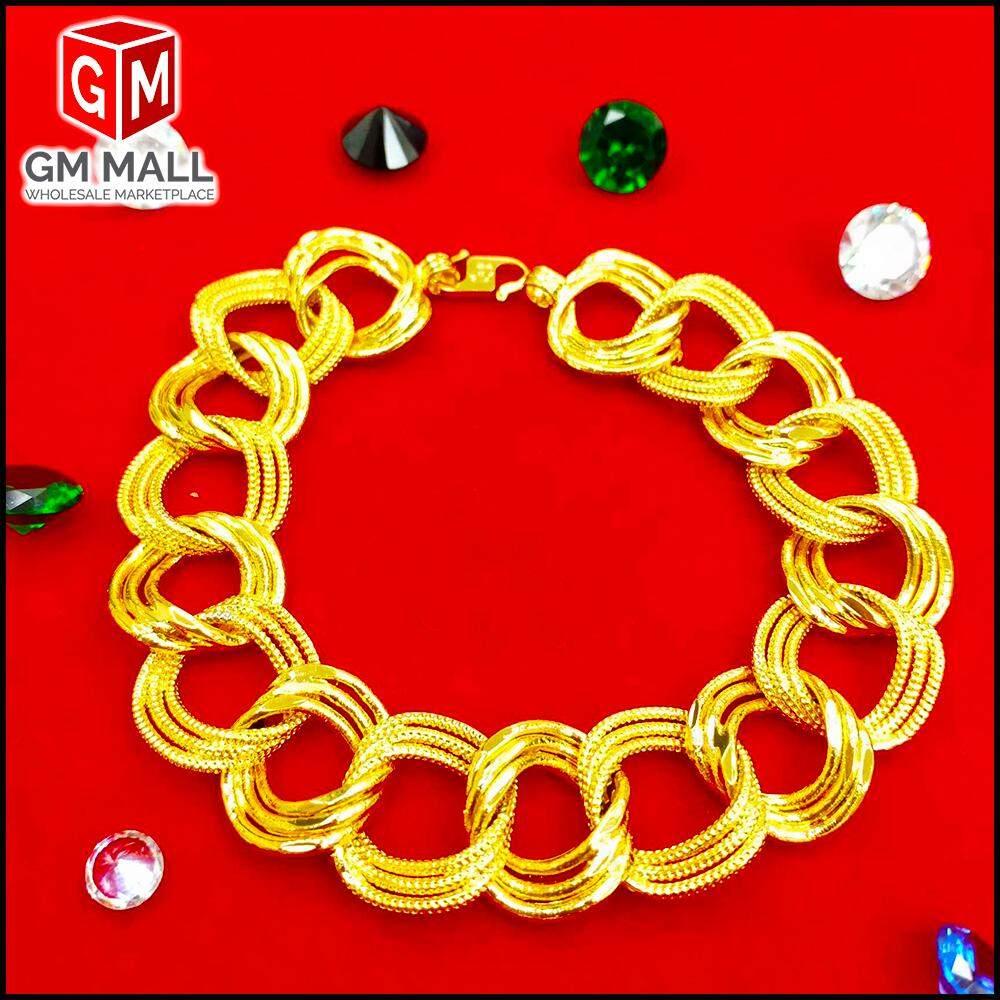 Emas Bangkok Jewellery - Rantai Tangan Coco 3 Line Pasir Gold Plated (Bracelet EB-2001)
