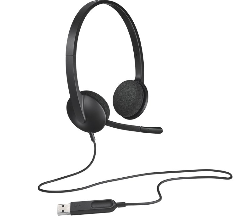 Logitech H340 USB Computer Headset with USB Connection, digital Stereo Sound, Noice Canceling Mic, Adjustable Headband(981-000477)