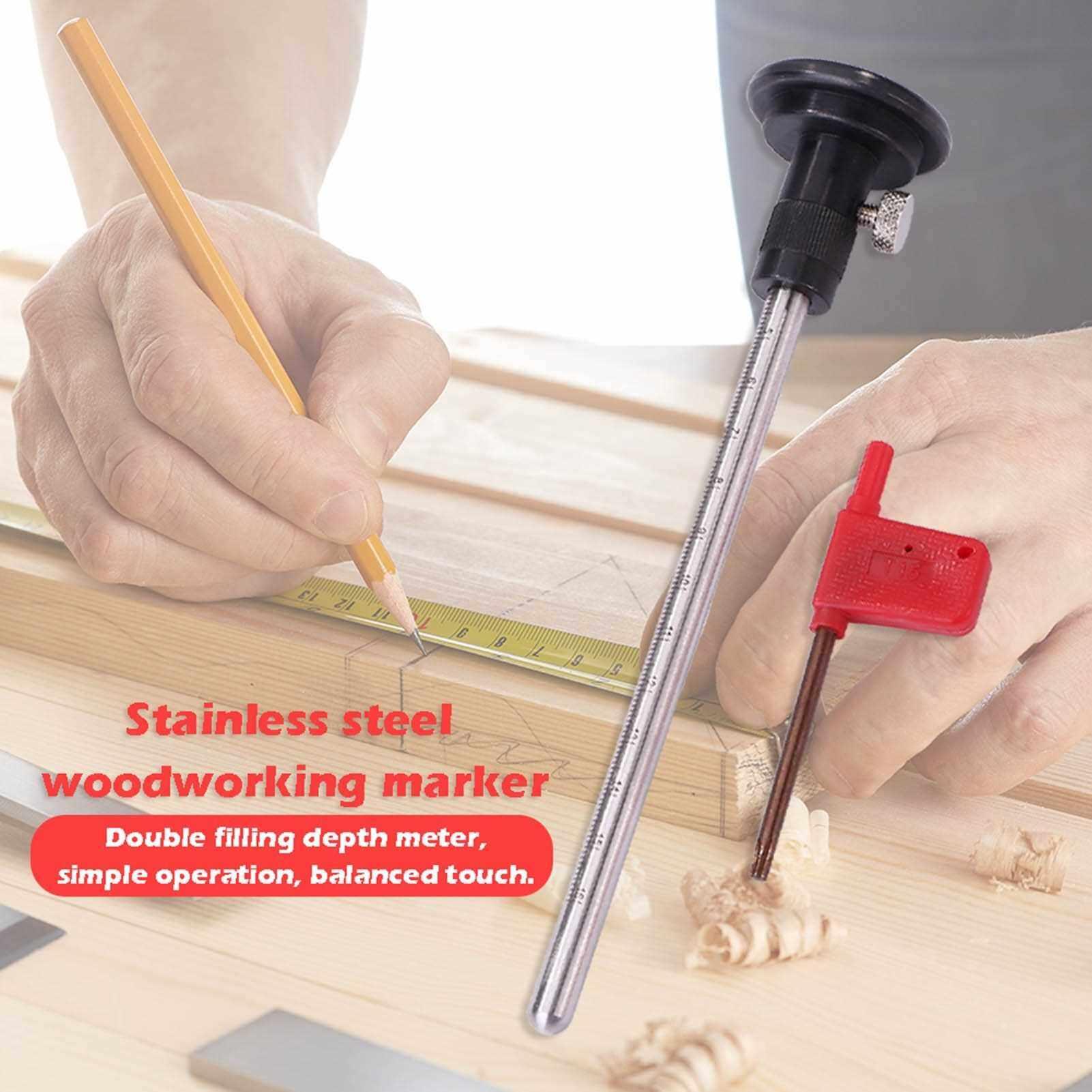Wheel Marking Gauge with Scale Woodworking Scribers Stainless Steel Woodworking Tool (Standard)