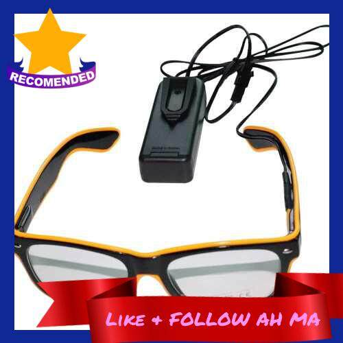 Best Selling YJ001 LED Glasses 10 Colors Optional Light Up El Wire Neon Rave Glasses Twinkle Glowing Party Club Holiday Bar Decorative Glasses (Yellow)