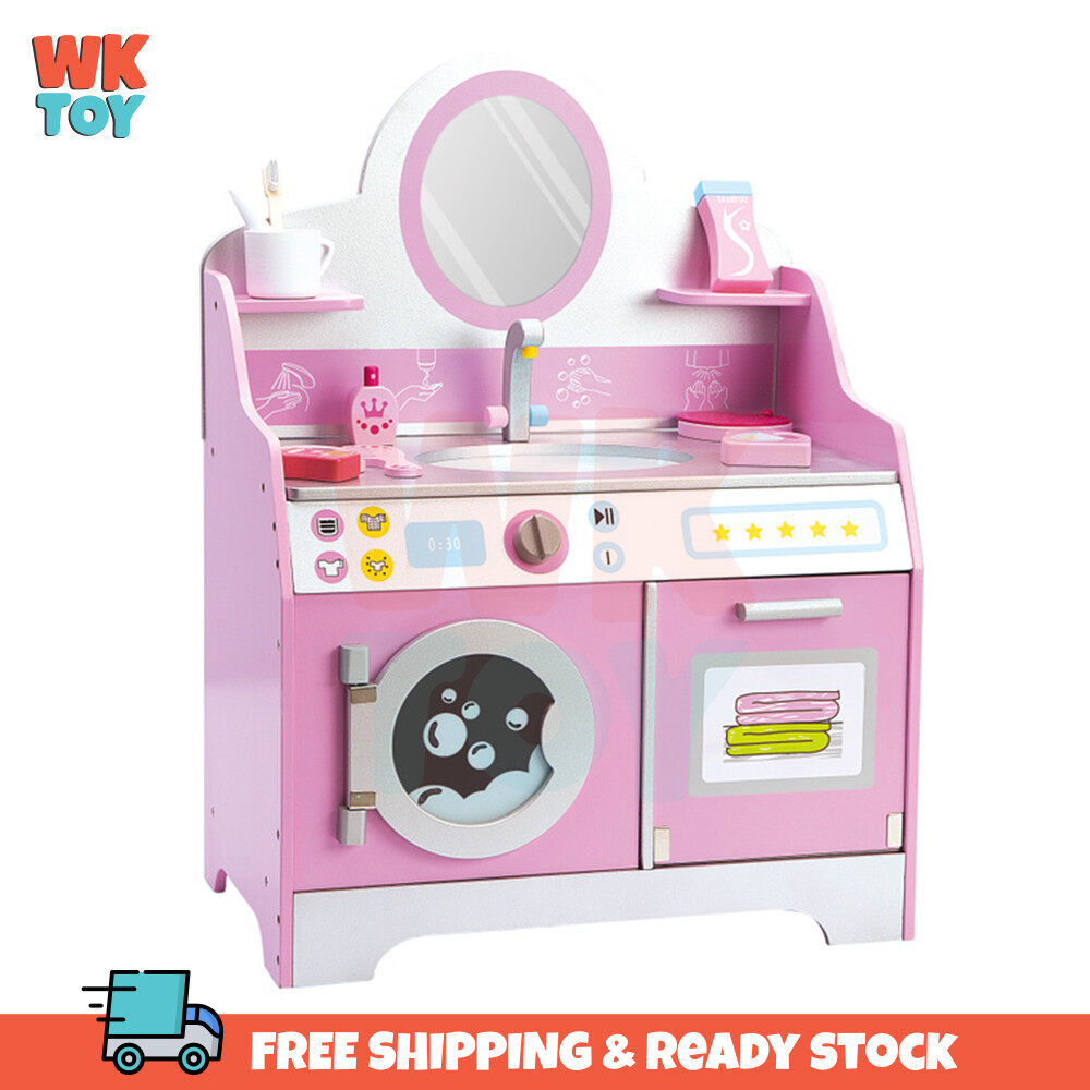 WKTOY Wooden Pink princess house play model kids gift dressing table toy Wooden Pretend Washing Dressing Table Toy