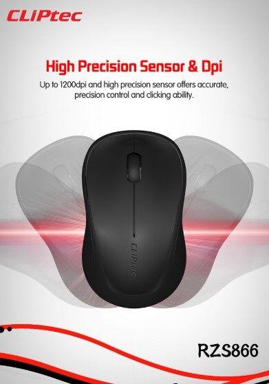 Cliptec Wireless Optical Mouse CLIP-TRAX (RZS-866), 1200dpi, 2.4GHz, Mini Nano Receiver, USB 2.0, Black / Red / Blue