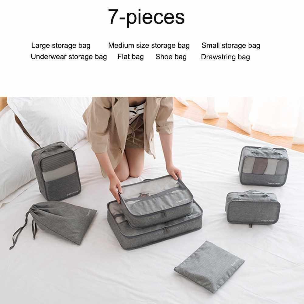 7Pcs/Set Portable Luggage Travel Bag Ladies Clothes Underwear Sorting Organizer Large Capacity Packaging Accessories Black (Black)