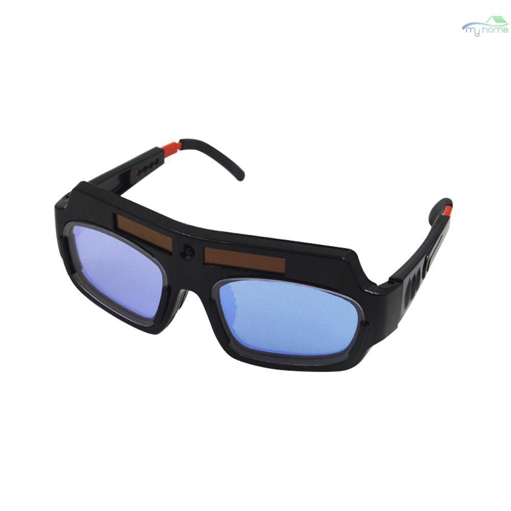 Protective Clothing & Equipment - Solar Powered Auto Darkening Welding Goggle Mask Helmet Welder Glasses PC Lens Eye Goggles for - BLACK