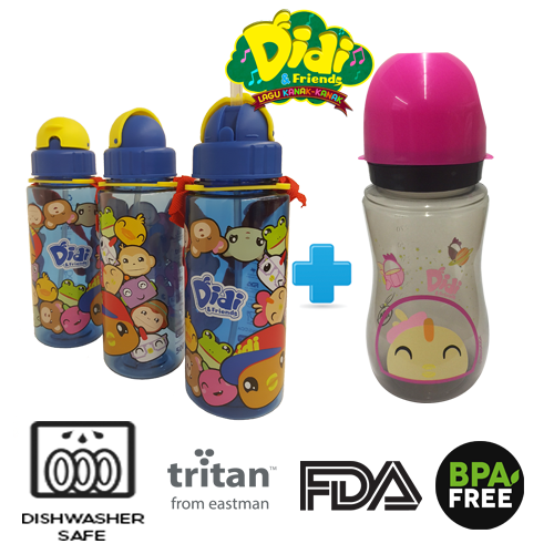 Didi And Friends 500ml NEW Tritan Bottle (1pc) + 12Oz Nana Milk Bottle
