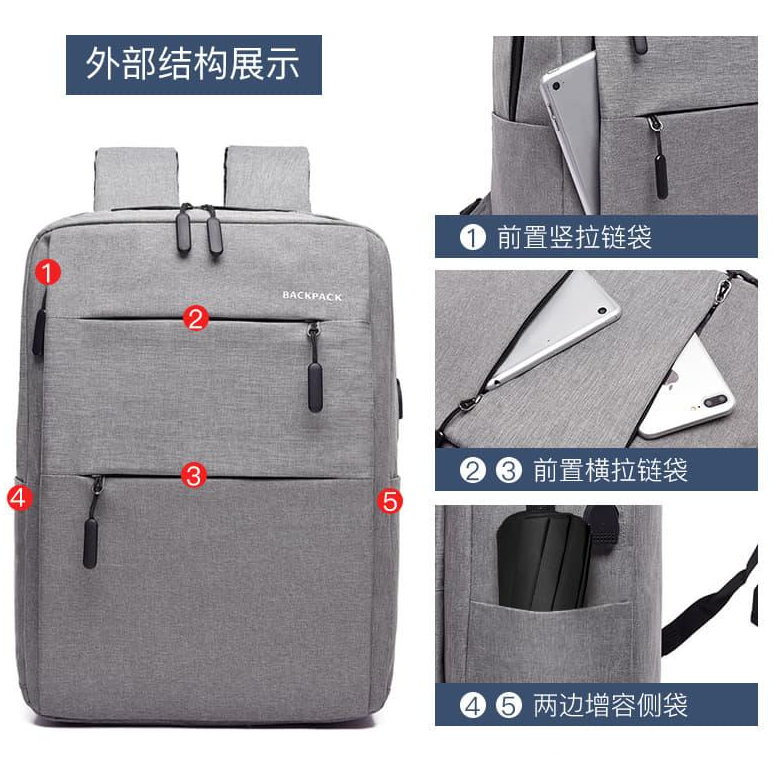 NEW[Msia Warehouse Direct] 2020 Korean Series Laptop Backpack Water Resistant Unisex Business Bag Travel Sling Student Bag Euro Italy Designer Perfect Gift For Love One Fit For Macbook Ipad Tab Free Gift USB