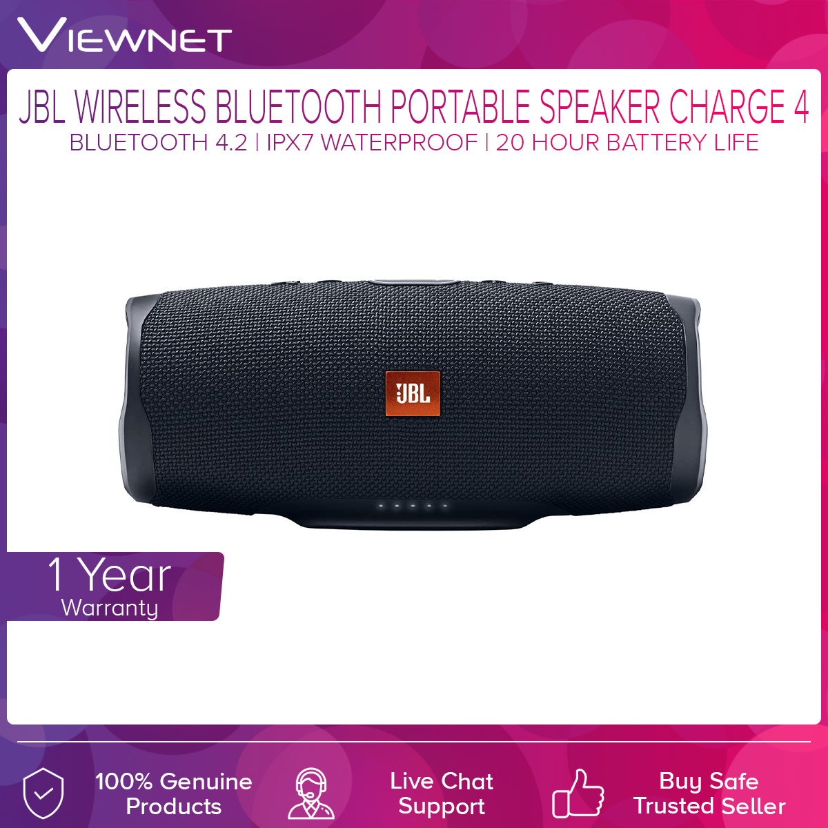 JBL Charge 4 Portable Bluetooth Speaker with Waterproof, Bass radiator, Durable fabric