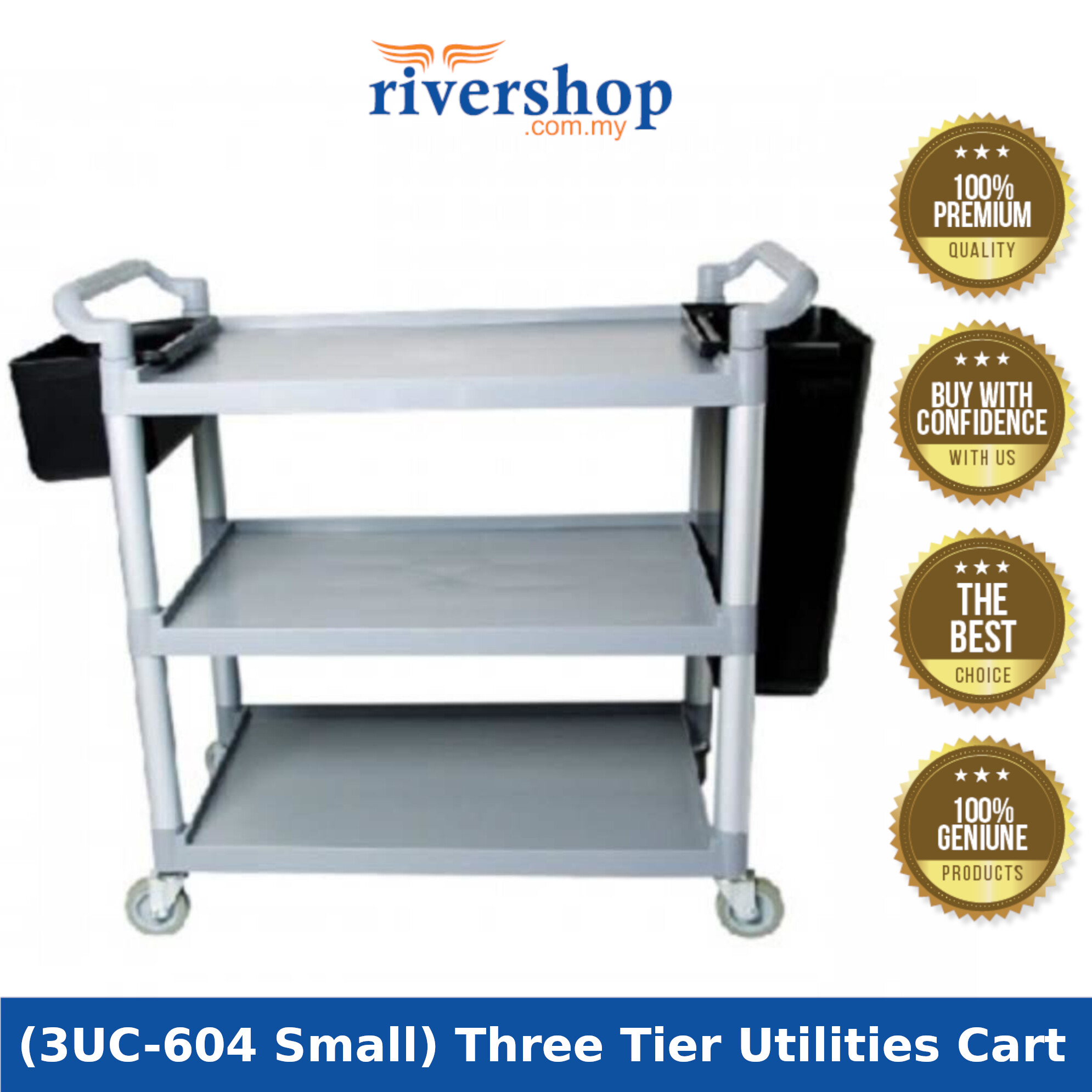 [High Quality] Plastic 3 Tiers Utilities Cart Wheeling Trolley with Bucket (3UC-604 Small) for Home Hotel Restaurant Commercial of Storage Organization