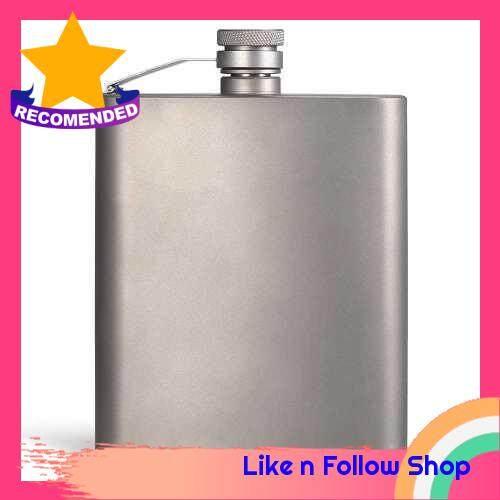 200ML Titanium Flask Liquor Ultra Light Flat Hip Flask Outdoor Camping Picnic Hiking (Standard)