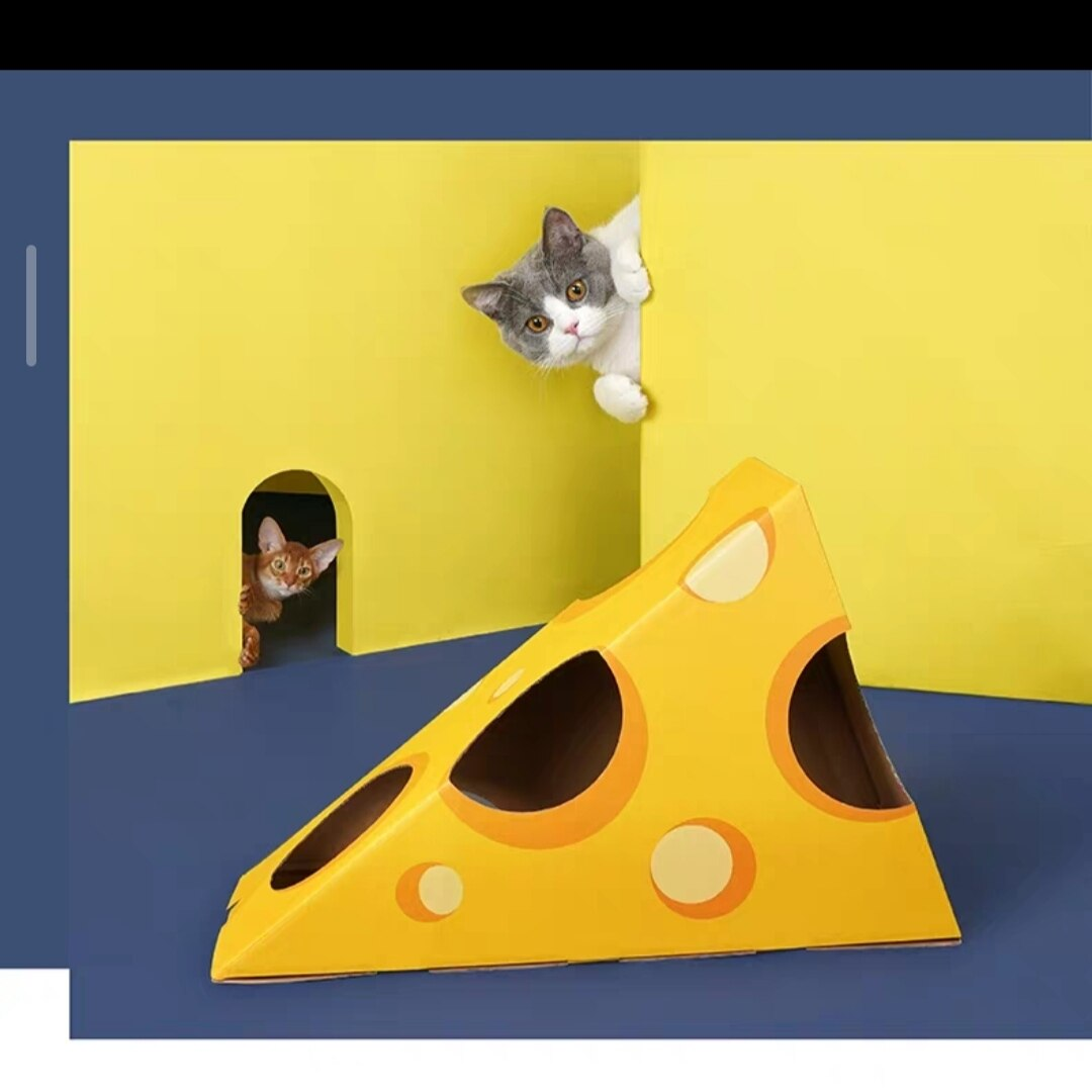 Cheese House with Scratcher for Cats