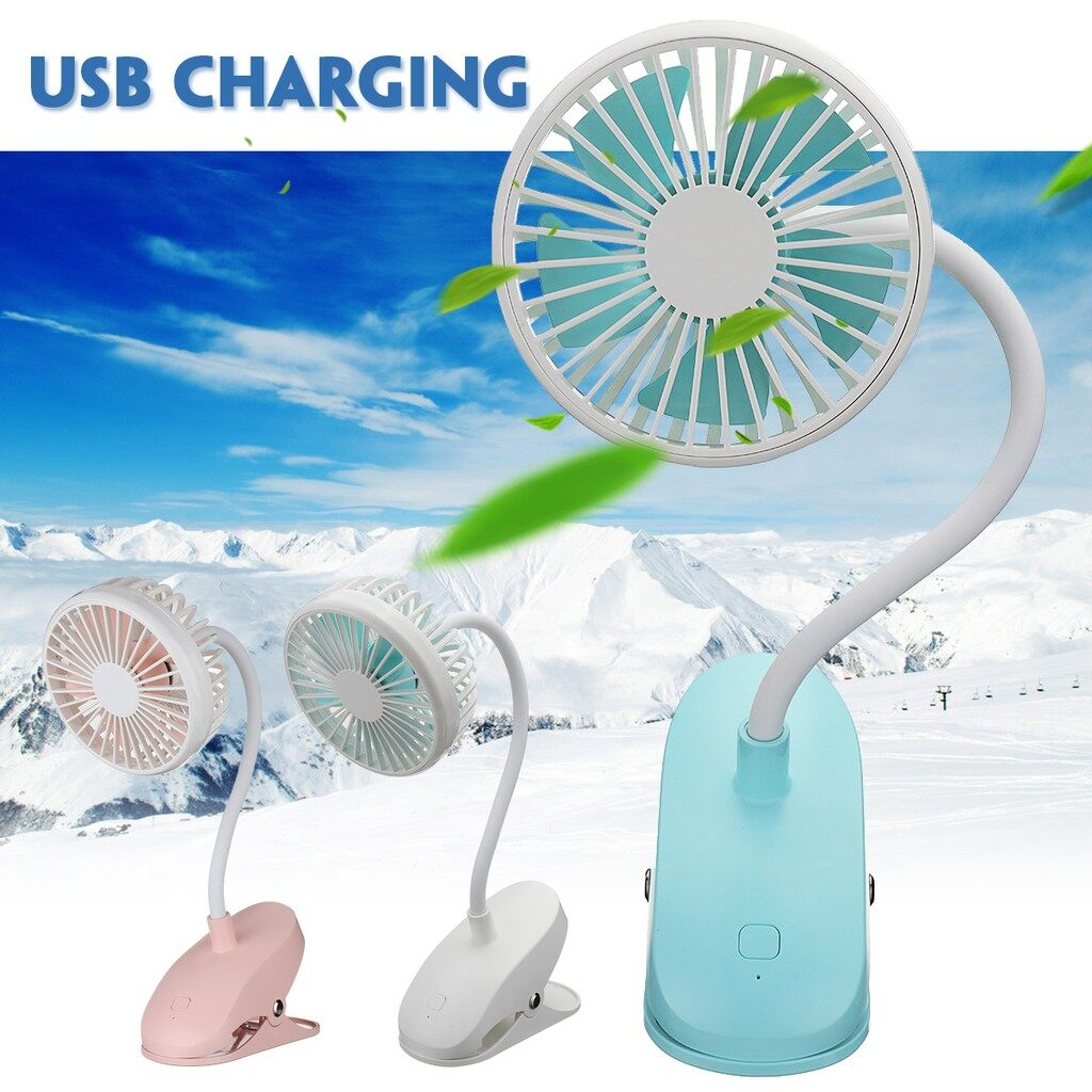 USB Fan - PORTABLE 360 Clip-on Desk Table USB Electric Cooling Fan - PINK / BLUE / WHITE