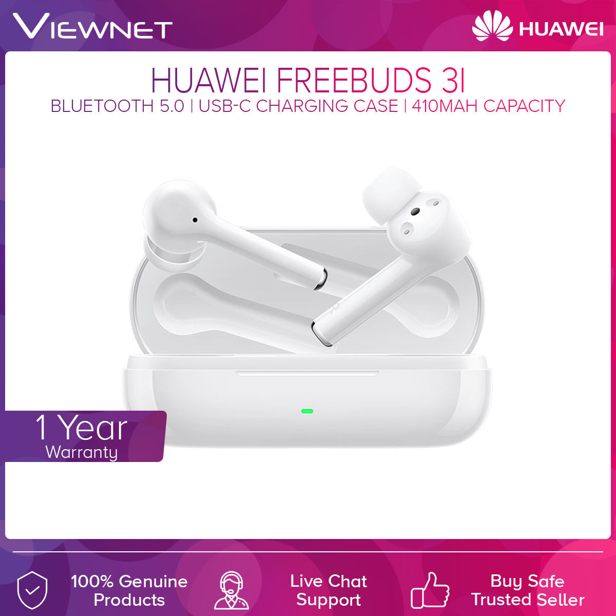 Huawei Wireless Earset FreeBuds 3i with Bluetooth 5.0, Active Noise Cancellation, Call Noise Cancellation, 3-Mic System, USB-C Port Charging Case, 14.5 Hours Charging Case Battery Life