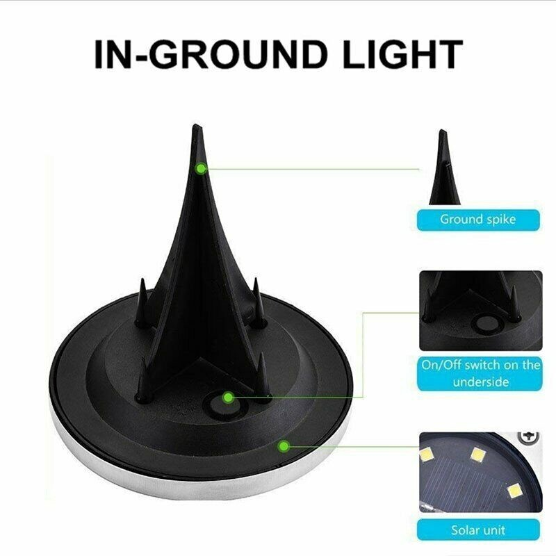 8/12/16 LED Solar Disk Lights Ground Buried Garden Light Lawn Deck Outdoor Light Waterproof - COLD WHITE-12LED / WARM WHITE-16LED / COLD WHITE-8LED / WARM WHITE-8LED / COLD WHITE-16LED / WARM WHITE-12LED